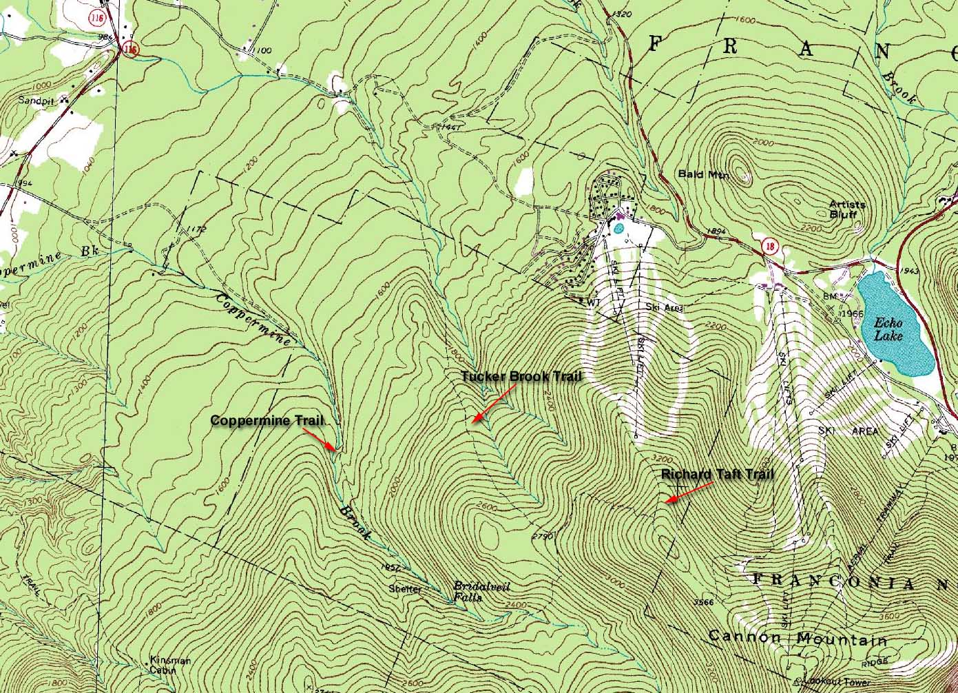 1988 Usgs Topographic Map Of Cannon Mountain