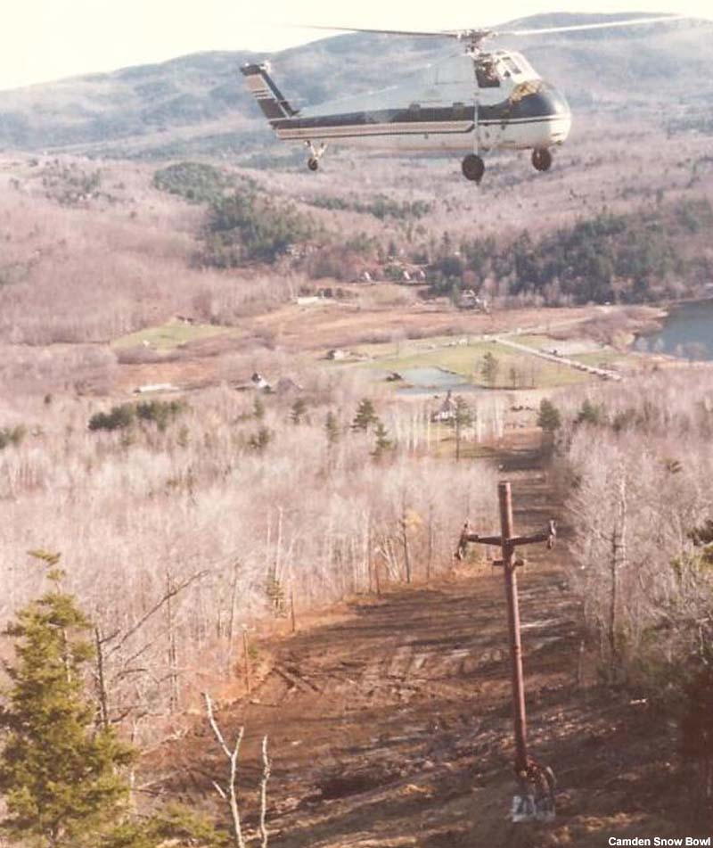 Installation of the chairlift in 1975