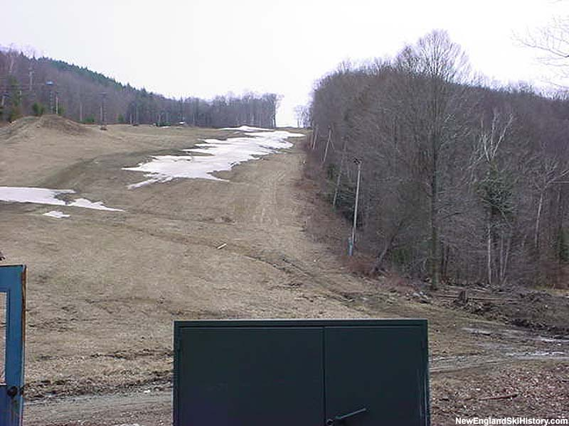 Remains of the partially installed chairlift (lift shack door at left) in 2002 prior to installation of West Quad