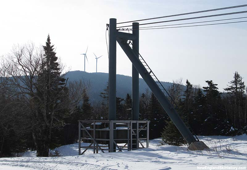 The top of the Double Chair and wind farm in 2014