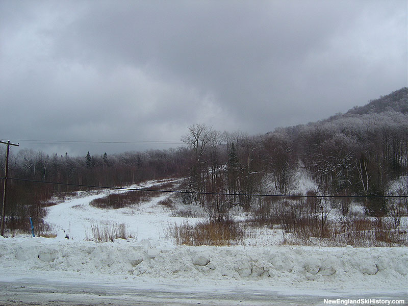 The former J-Bar slope and line (right) in 2005