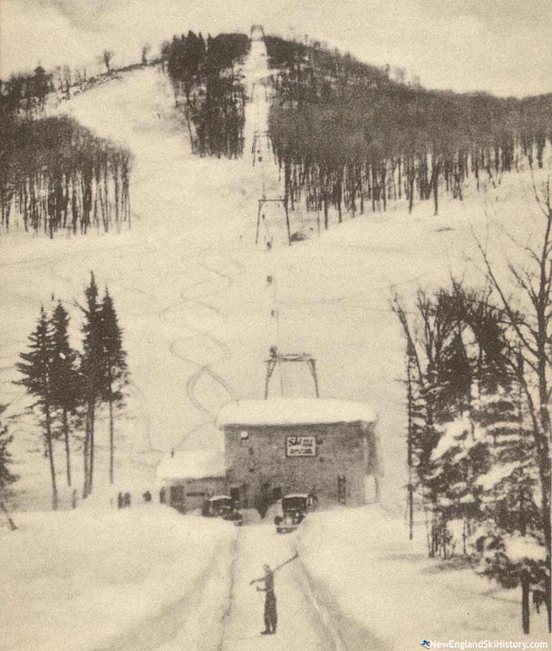 A 1940s postcard rendering of the lift line