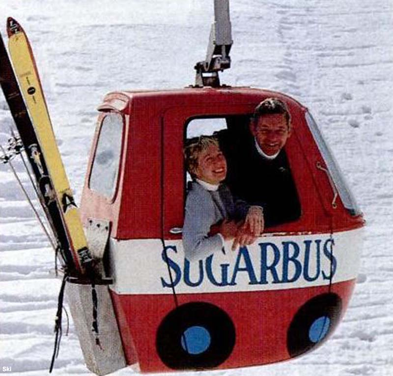Former owners Sara and Damon Gadd in the gondola, circa the early 1980s