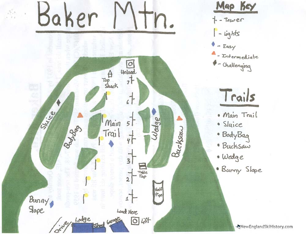 2018-19 Baker Mountain Trail Map