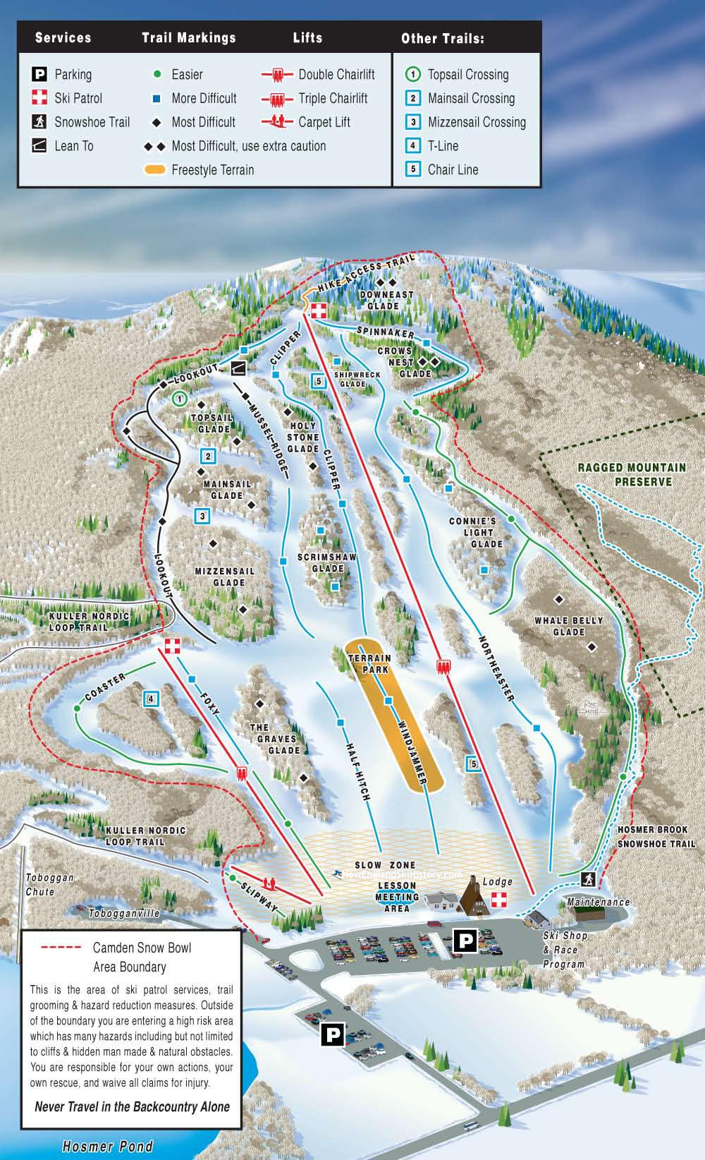 2018-19 Camden Snow Bowl Trail Map
