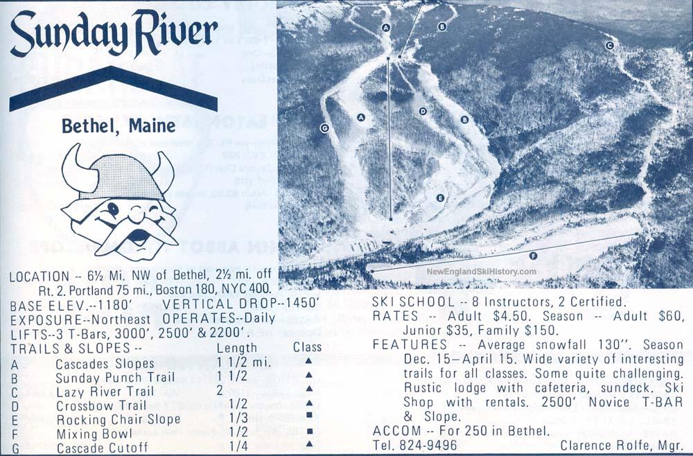 1969-70 Sunday River trail map - New England Ski Map