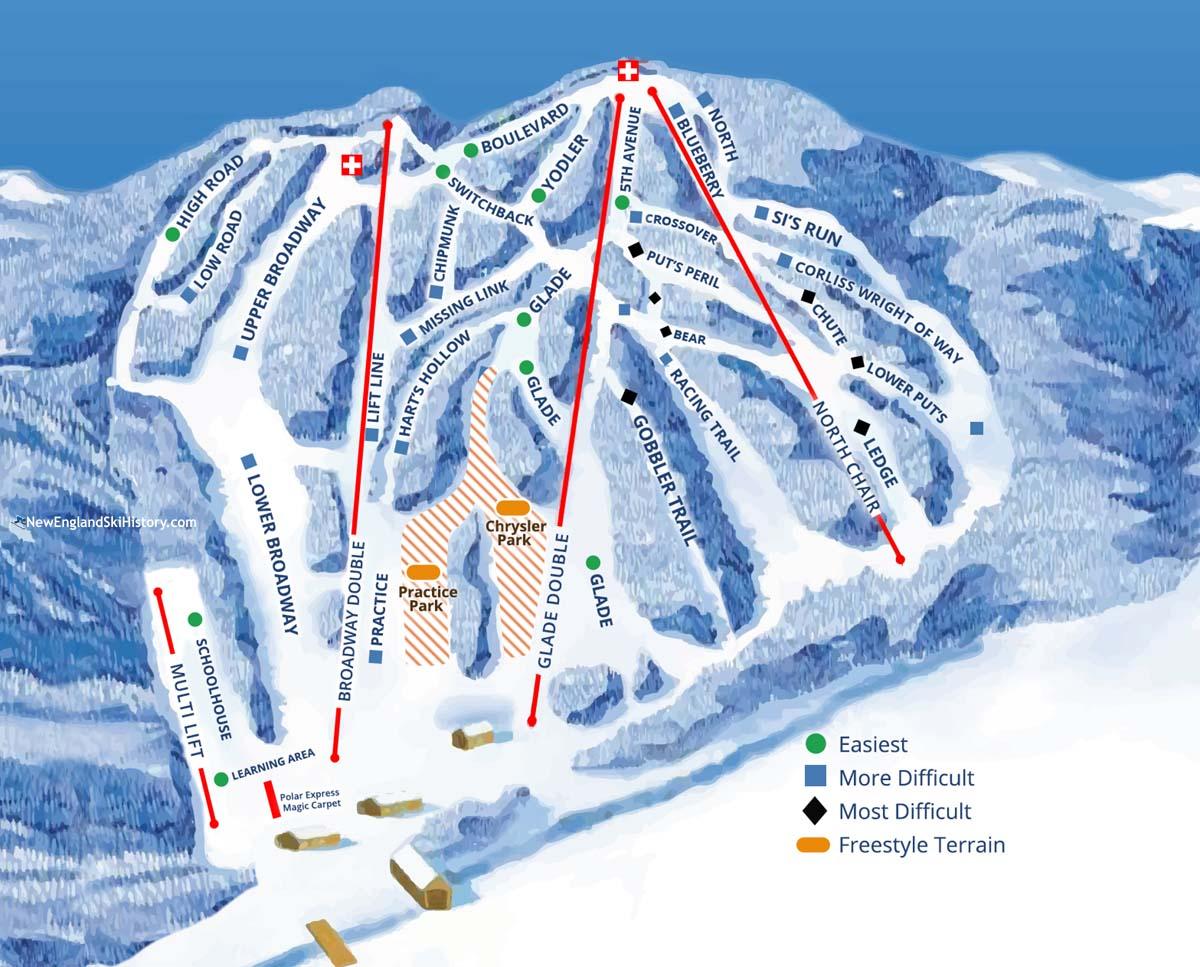 Skiing New England Map.2017 18 Ski Blandford Trail Map New England Ski Map Database