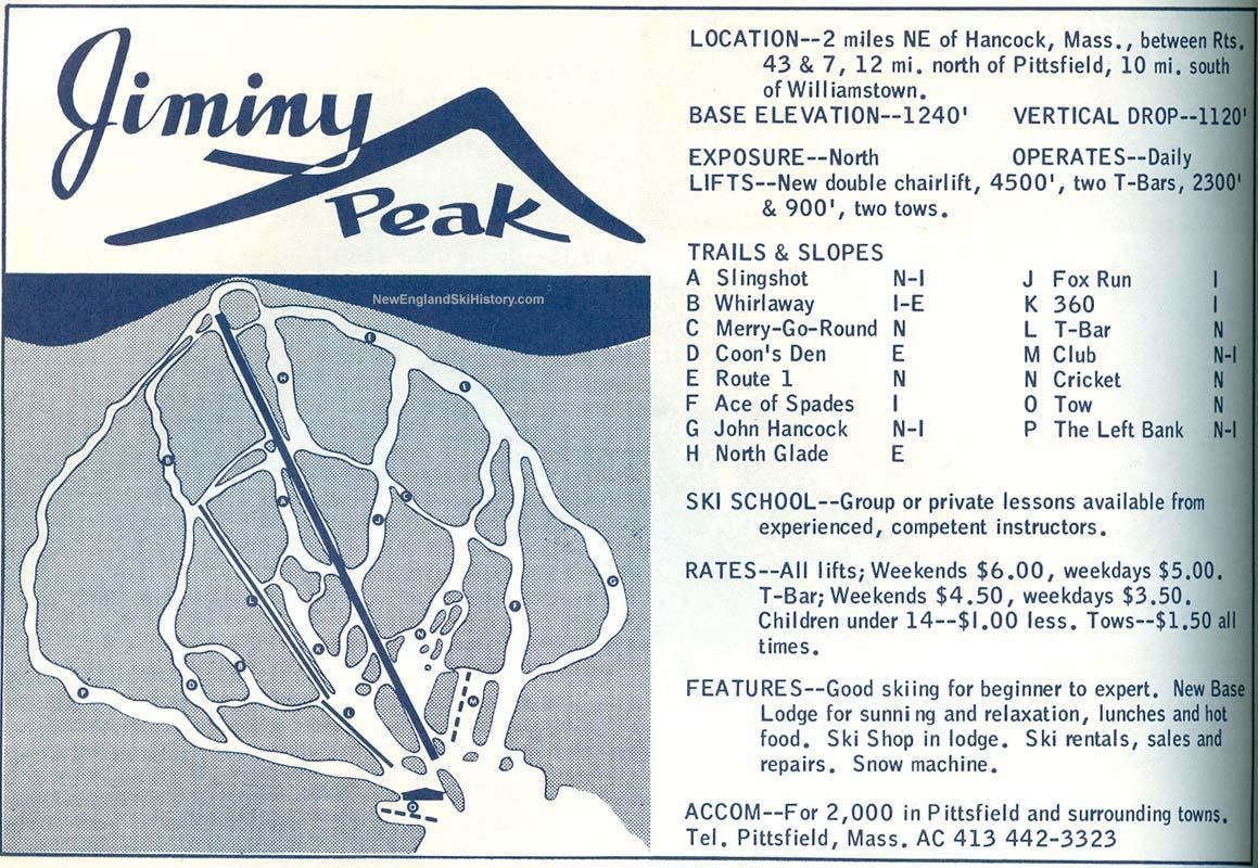 1964-65 Jiminy Peak Trail Map - New England Ski Map Database ... on