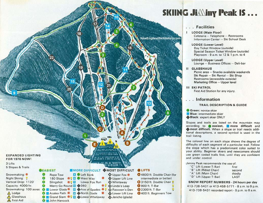 1976-77 Jiminy Peak Trail Map - New England Ski Map Database ... on