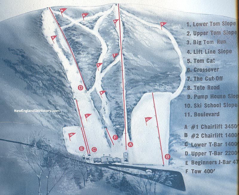Skiing New England Map.1967 68 Mt Tom Trail Map New England Ski Map Database