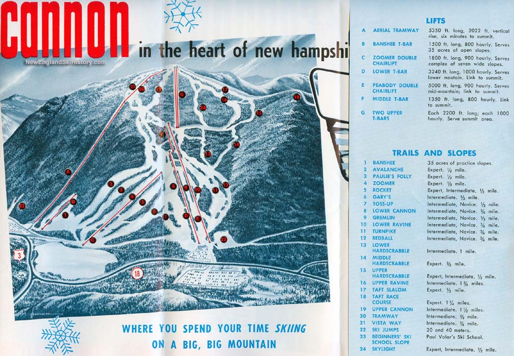 Ski New England Map.Late 1960s Cannon Mountain Trail Map New England Ski Map Database