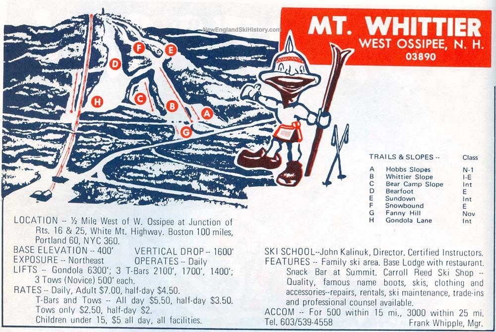 Mt Whittier Trail Map New England Ski Map Database - Vintage ski maps