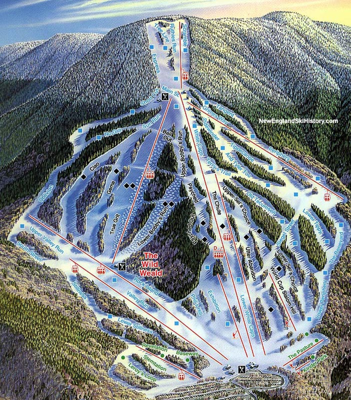 199697 Waterville Valley Trail Map New England Ski Map Database