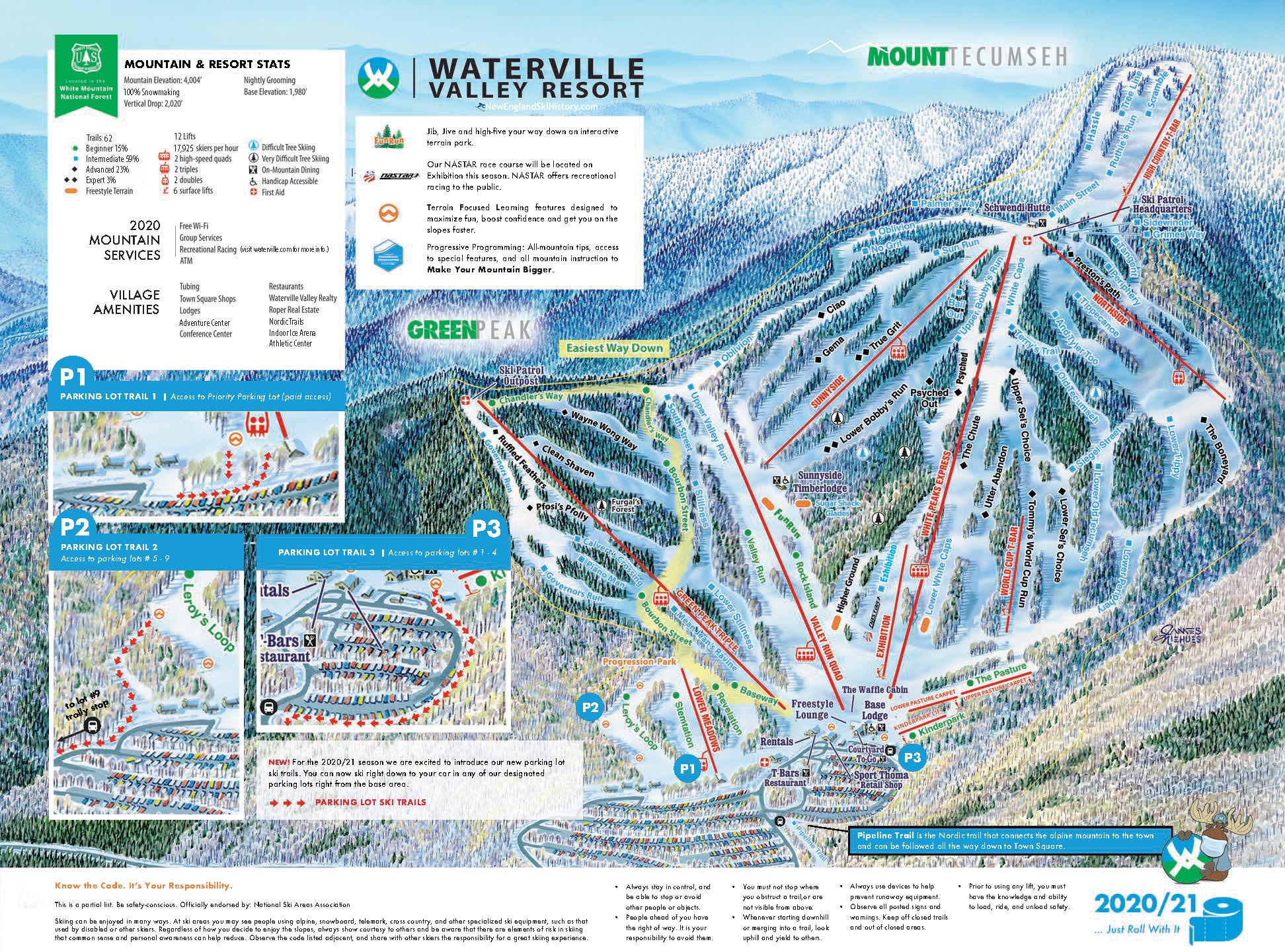 2020-21 Waterville Valley Trail Map