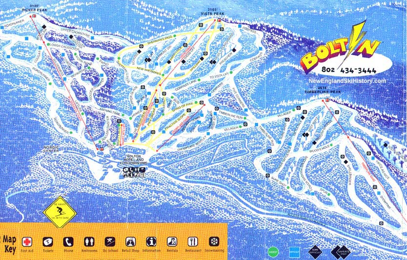 199798 Bolton Valley Trail Map New England Ski Map Database
