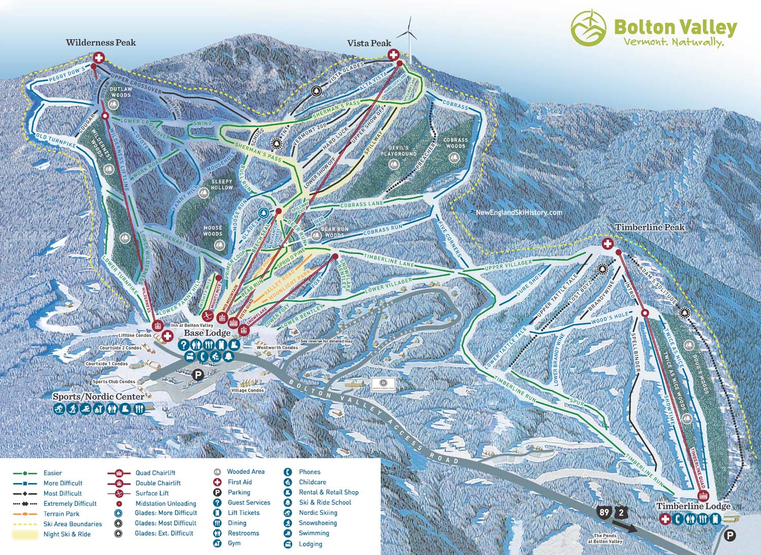 2016 17 Bolton Valley Trail Map New England Ski Map Database NewEnglandSk