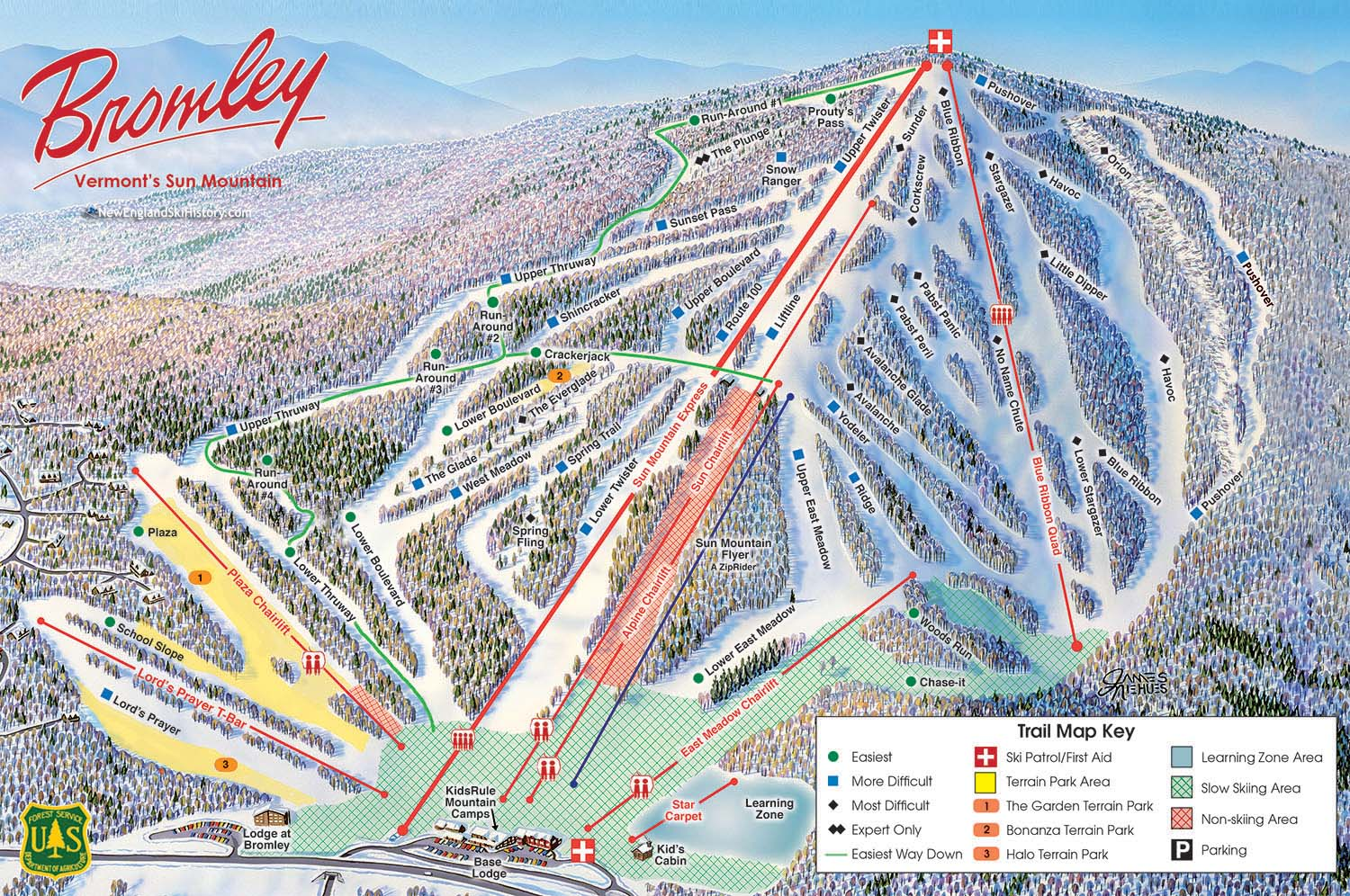 2016 17 Bromley Trail Map New England Ski Map Database