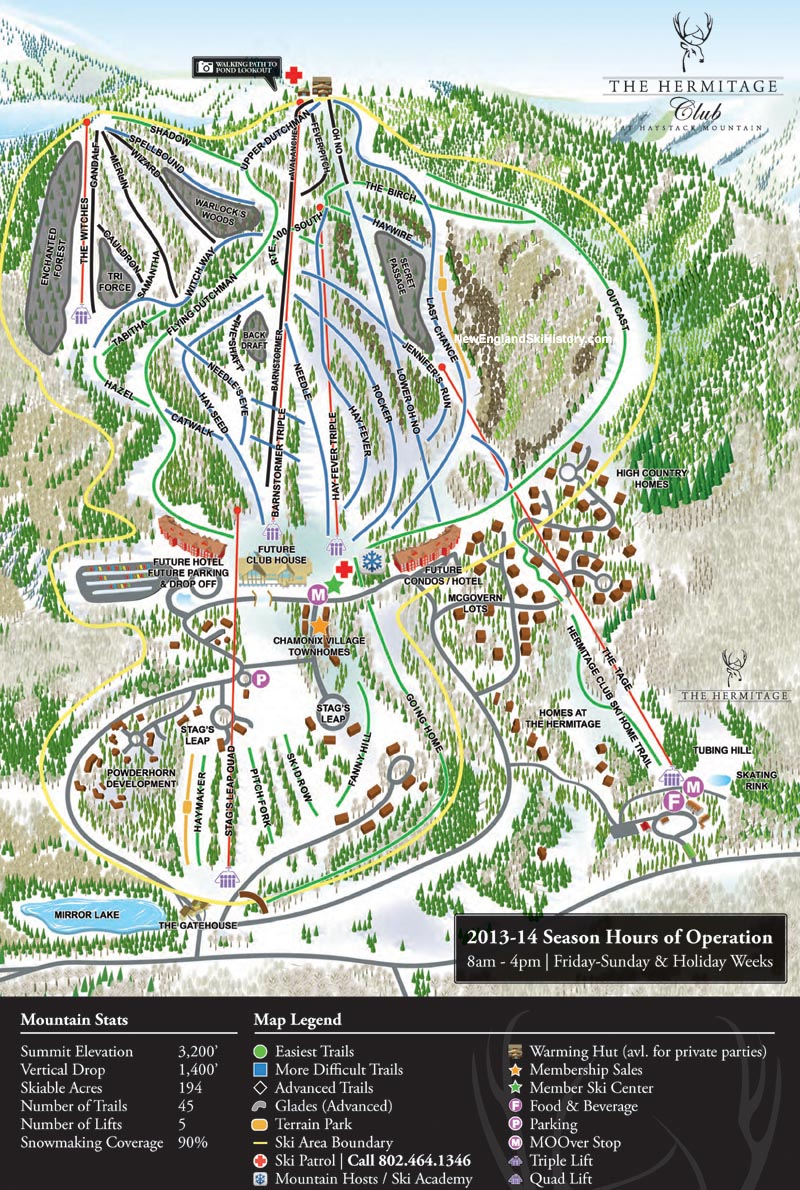 2013-14 Hermitage Club at Haystack Mountain Trail Map - New