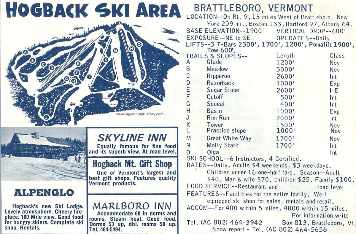 1964 65 Hogback Trail Map New England Ski Map Database