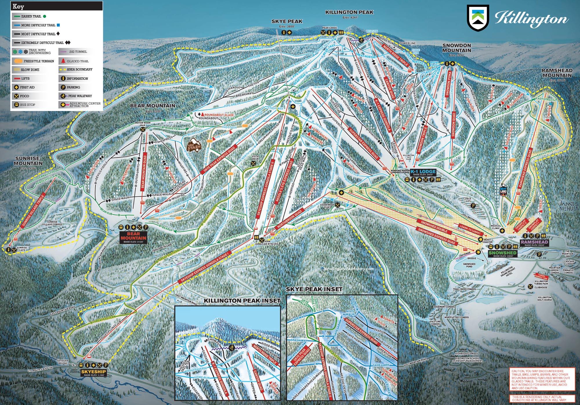 2016-17 Killington Trail Map - New England Ski Map Database ... on