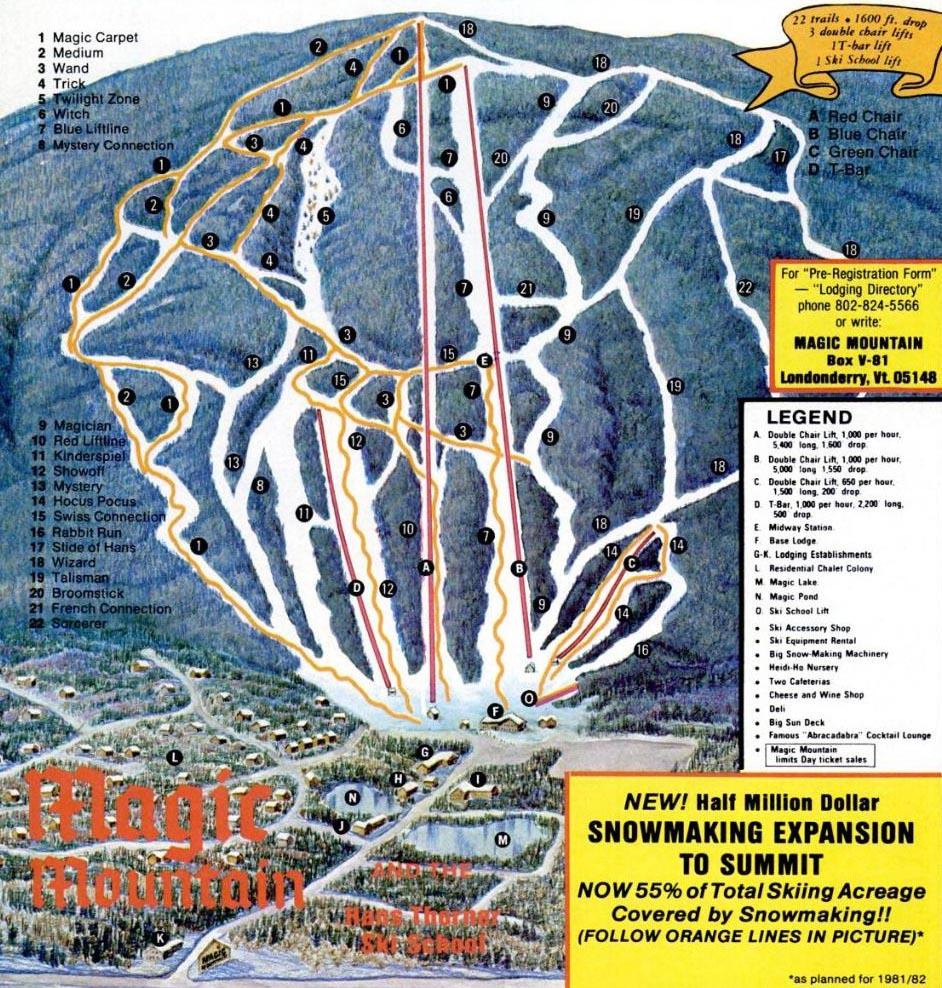 1981-82 magic mountain trail map - new england ski map database