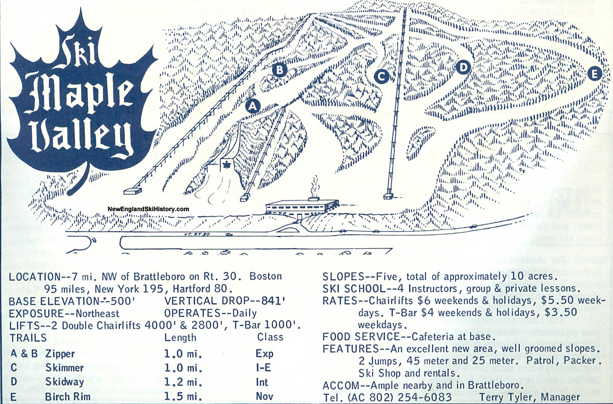 Skiing New England Map.1964 65 Maple Valley Ski Area Trail Map New England Ski Map