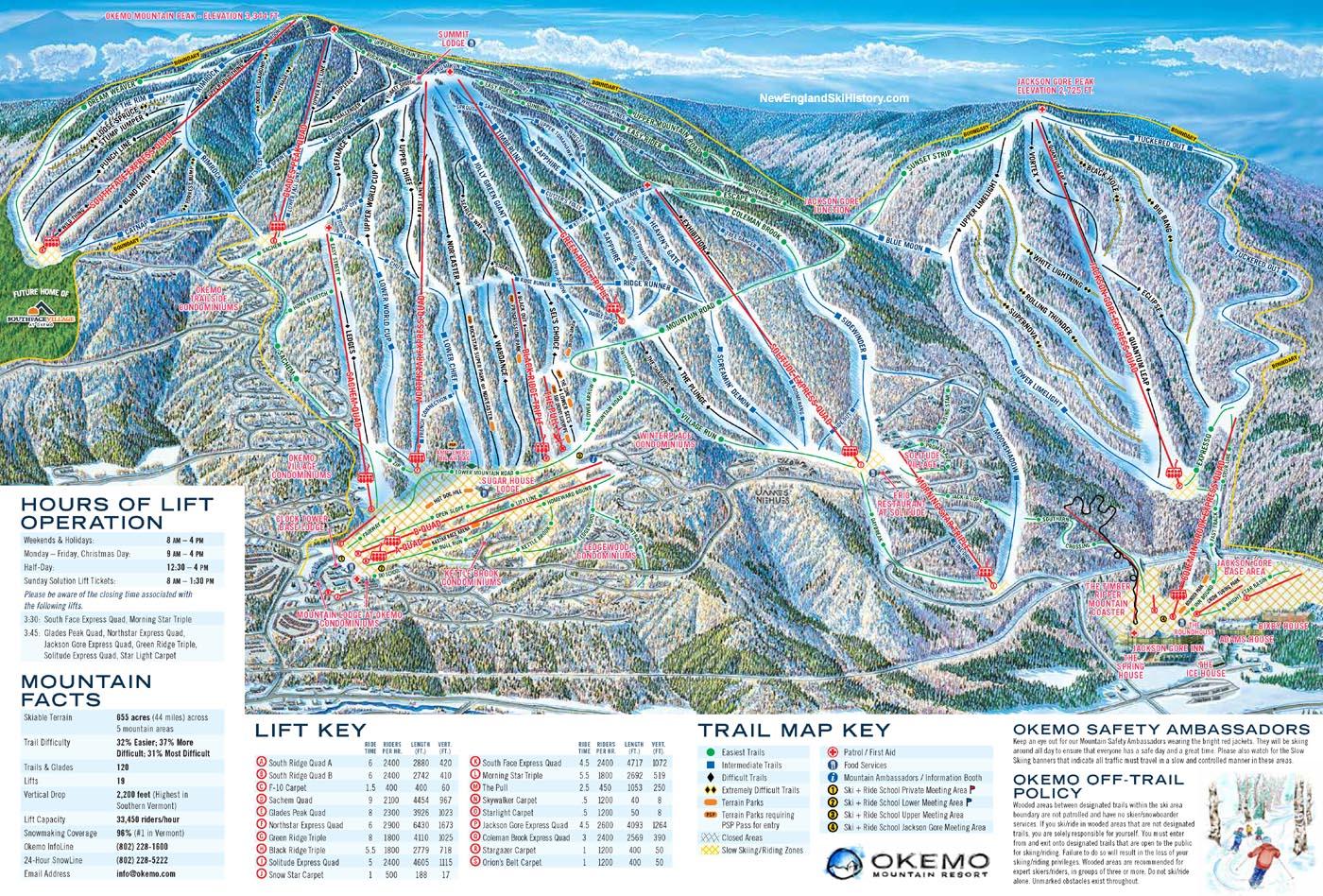 Skiing New England Map.2013 14 Okemo Trail Map New England Ski Map Database