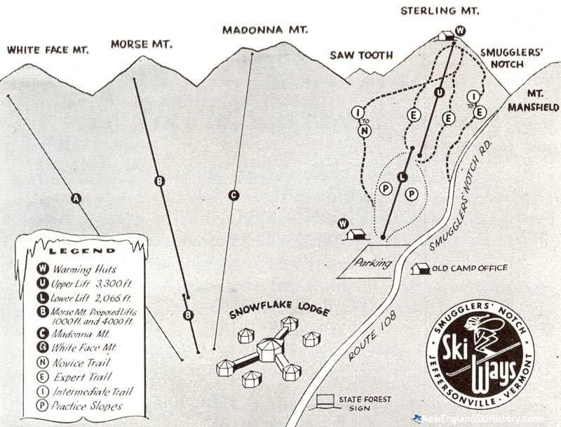 1956 Smugglers Notch Development Map - New England Ski Map ... on wilmington map, arlington map, mount mansfield map, essex map, brookfield map, cambridge map, worcester map, suicide six map, plymouth map, woodbury map, eden map, magic mountain map, ludlow map, weston map, burlington map, shrewsbury map, jay peak map, brownsville map, newport map, cabot map,