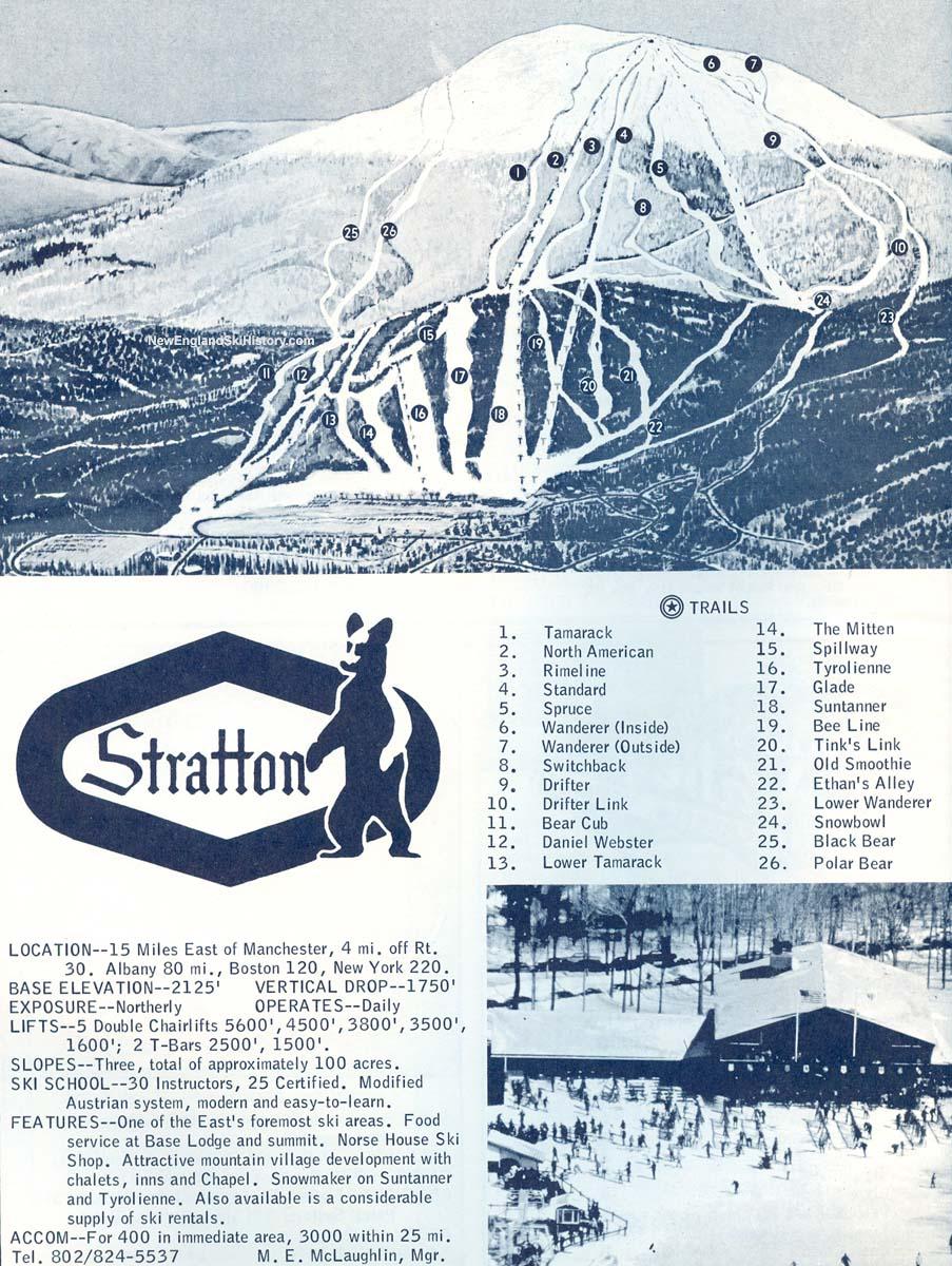 stratton mountain trail map  new england ski map database newenglandskihistorycom.  stratton mountain trail map  new england ski map database