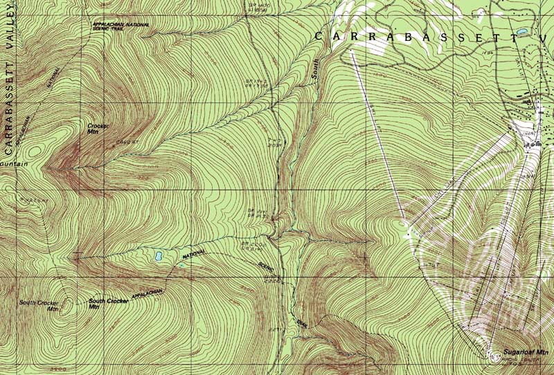 Topo Map Of Maine.Crocker Mountain Sugarloaf Mountain Resort New England Ski Area