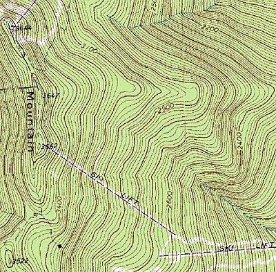 Topographic Map Vermont.General Stark Mountain Glen Ellen New England Ski Area Expansions