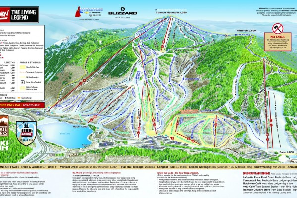 2018-19 Cannon Mountain Trail Map