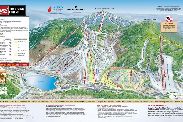 2020-21 Cannon Mountain Trail Map