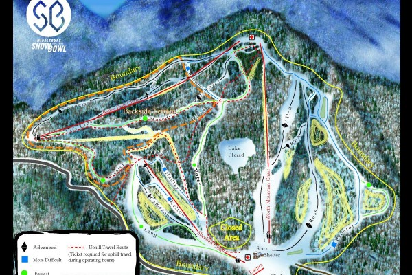 2018-19 Middlebury College Snow Bowl Trail Map