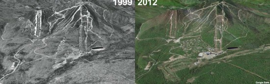 Jay Peak Aerial Imagery, 1999 vs. 2012